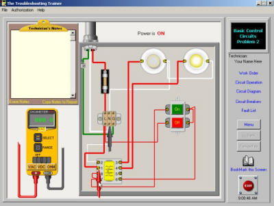 Electrical troubleshooting training simulator for Motor control wiring training